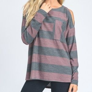 Hopely Brand Stripe french terry long sleeve